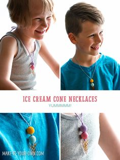 Kid Made Wooden Bead Ice Cream Cone Necklaces. Cute ice cream summer craft for kids!