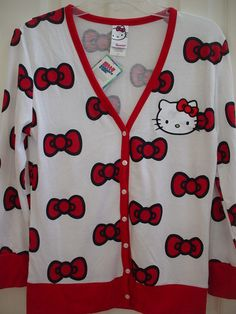 SANRIO HELLO KITTY MIGHTY FINE RED BOW CARDIGAN SWEATER ADULT EXTRA LARGE XL | eBay