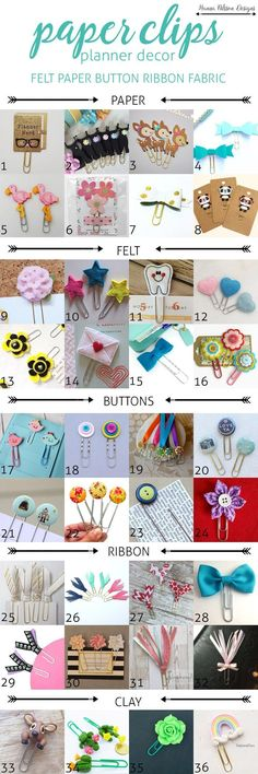 36 awsome paper clips for your creative planner + where to find them [ no link - however great pin to show options] - Home Decoration - Interior Design Ideas Filofax, Diy Paper, Paper Crafts, Paper Clips Diy, Paper Pin, Paperclip Crafts, Paperclip Bookmarks, Diy And Crafts, Crafts For Kids