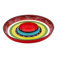 Ceramic La Cocina Fiesta Striped Chip & DIp Platter | Mexican Theme Party Serveware & Supplies