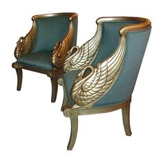 A Pair of American Art Deco Silver Leaf Chairs with Figural Swan Arms Modernism Gallery found on Polyvore featuring home, furniture, chairs, accent chairs, decor, blue, blue arm chair, miami home furniture, pair accent chairs and swan chair