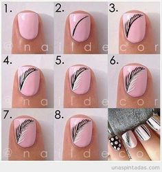How to draw a feather on a nail