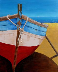 Boot liggend op het strand by Alex Olzheim Boat Illustration, Deco Marine, Seaside Art, Sailboat Painting, Boat Art, Art Impressions, Driftwood Art, Artist Art, Art Studios