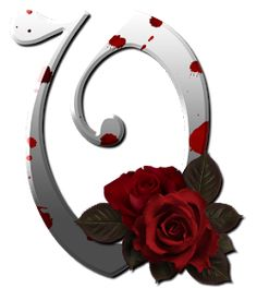 """Photo from album """"Gothic white alfabet with red rose"""" on Yandex. Cute Alphabet, Alphabet And Numbers, Alphabet Letters, Decoupage, Minnie Png, Gifs, Letter Stencils, Photoshop, Initial Letters"""