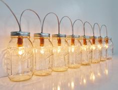 Mason Jar Lamp BANNER Style Lighting Fixture With 8 di BootsNGus, $185.00