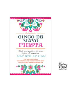 Cinco De Mayo Invite / Grab your sombrero ad grab some fajitas and margaritas! This funky fiesta-themed invitation is a fun and modern way to party Mexican style! With southwestern flair and a tribal vibe, this invite features a mexican folk pattern and modern typefaces / by LuckyPlumStudio
