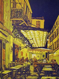 """ARTFINDER: """"Night Cafe"""" by Louise Stebbing - Night Cafe in Arles - the one painted by Van Gogh inspired by a trip to Arles (twinned with my local town Wisbech). This is an original, hand printed, re..."""