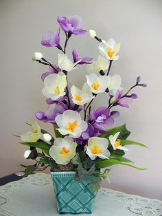 Handmade Purple and Light Green Orchids by LiYunFlora on Etsy