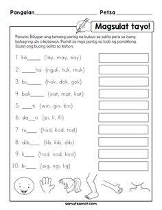 Samut-samot – Free printable worksheets for Filipino kids Grade 1 Reading Worksheets, Homeschool Worksheets, Reading Comprehension Activities, Free Printable Worksheets, Worksheets For Kids, Printable Masks, Printables, 5th Grade Spelling Words, Spelling Test
