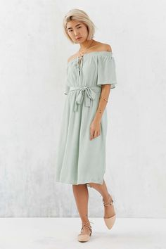 Ecote Gauzy Off-The-Shoulder Midi Dress Urban Outfitters $79 (recommended by Gal Meets Glam)