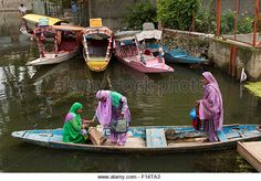 India, Jammu & Kashmir, Srinagar, Dal Lake, three colourfully dressed local women in shikara boat - Stock Image