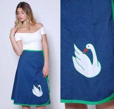 Vintage 70s NOVELTY Wrap Skirt SWAN Skirt Blue Cotton BIRD Print Skirt