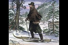 "1870: ""Neither Rain Nor Snow...""  A wood engraving of a letter carrier in the Rocky Mountains. The famed ""creed"" of the U.S. Postal Service is not an official slogan, but an inscription on the James Farley Post Office building in New York. The full phrasing (which was derived from a quote from Herodotus) reads, ""Neither snow nor rain nor heat nor gloom of night stays these couriers from the swift completion of their appointed rounds."""
