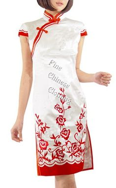 1318d88ee5039f Women Cheongsams Qipao Mini (Above Knees) - Excellent Chinese Embroidery  Silk Dress - Blooming Floral