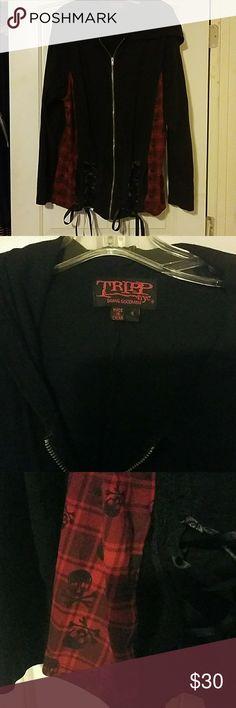 Goth by Torrid Black Hoodie - lace, skulls, ribbon Size 4x  Goth by Torrid  Lightly worn  Trendy torrid Other