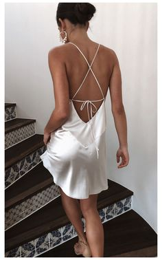 Satin Mini Dress, Silky Dress, White Mini Dress, Satin Dresses, Backless Mini Dress, Slip Dress Outfit, The Dress, Silk Slip, Satin Slip