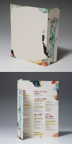 Loving the style of this menu and it's unconventional interpretation of a cover. Designed by Mallory Heyer: http://malloryheyer.tumblr.com/ #designisvital http://www.paliosdesign.com