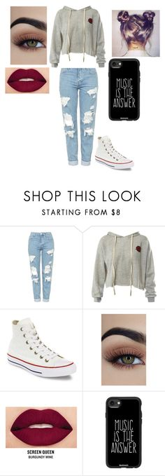 """Location"" by tinyalyson on Polyvore featuring Topshop, Sans Souci, Converse, Smashbox and Casetify"