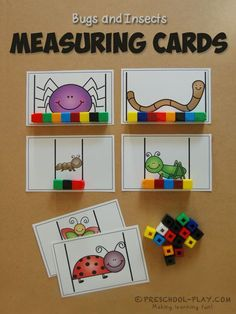 Bugs/Insects Math and Literacy Activities Measuring Cards -These make for a fantastic non-standard measurement activity for preschoolers.Measuring Cards -These make for a fantastic non-standard measurement activity for preschoolers. Measurement Kindergarten, Measurement Activities, Math Measurement, Literacy Activities, Math Games, Math Activities For Preschoolers, Kindergarten Math Centers, Literacy And Numeracy, Kindergarten Lesson Plans