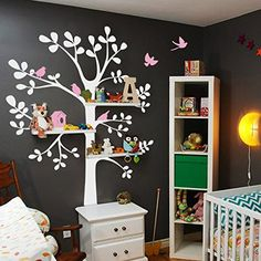 Shelving Tree Decal with Birds Wall Decals - Baby Nursery Decor Original Wall Decal (M,White Tree,Pink Birds)