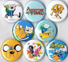 Set of 8 Adventure Time with Finn and Jake Pins Buttons Badges Party Favors | eBay
