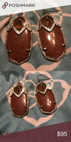 Kendra Scott Darby Peacock Earrings Goldstone and clear Smokey comes with dust bag Kendra Scott Jewelry Earrings