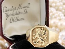 Antique C. 1940 Deco 14k Yellow Gold Gryphon Signet Crest Coat Of Arms Ring!