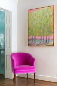 Sunny Goode contemporary artwork and hot pink chair in foyer - Click through for the full home tour and get inspired.