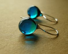 Teardrop earrings (No.14) - glass and sterling silver