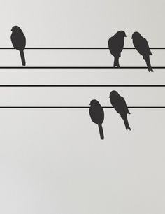.love birds on a wire. I would love to do this as a border on one wall in the bedroom