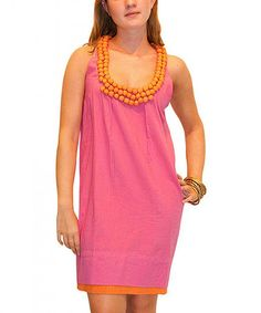 Look what I found on #zulily! Pink & Orange Embellished Shift Dress #zulilyfinds