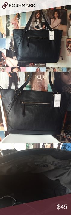 nine west + corner store tote This Corner Store Tote by Nine West is the epitome of roomy and chic. Plain black with silver hardware, it's ready to go anywhere at anytime and do it with style! NWT. Nine West Bags Totes