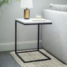 Box Frame C-Base Side Table - Marble/Antique Bronze | west elm