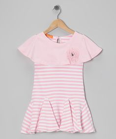 With snappy stripes and an oversize collar, this darling dress promises to tickle a little one's fashion funny bone. A shimmering floral accent and keyhole in the back add a touch of extra sweetness.
