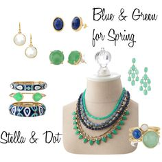 """Blue & Green - Stella & Dot Spring 2014"" by mdesoer on Polyvore"