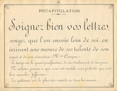 """French instruction manual, 1900, page 32, a practice example of Ronde in varying sizes.  Note how the Madame is abbreviated, with the """"de"""" raised like a superscript.  This is common on postal addresses."""
