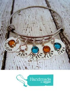 Birthstone Family Bracelet with Kids' Names - Personalized Hand Stamped Jewelry - Expandable Stackable Wire Bracelet from Ellen B Keepsakes http://www.amazon.com/dp/B015HQO57A/ref=hnd_sw_r_pi_dp_WGrrwb0D9YP0E #handmadeatamazon