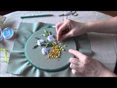 Вышивка лентами от Снежи. Часть 1. РОЗА НА ТАРЕЛОЧКЕ - YouTube