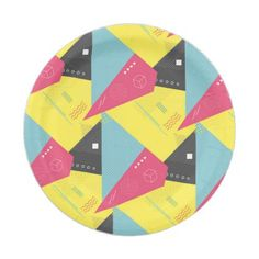 Retro 80's Style Paper Plates - paper gifts presents gift idea customize