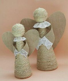 Divine And Beautiful Angel Christmas Decoration Ideas - Christmas Celebration - All about Christmas Burlap Crafts, Easter Crafts, Decor Crafts, Diy And Crafts, Christmas Crafts, Christmas Ornaments, Christmas Poinsettia, Crochet Christmas, Christmas Makes