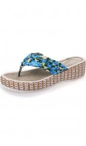 LUCLUC Sky Blue Floral Thick-soled Sandals