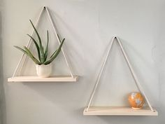 These hanging shelves are the ultimate in tasteful, minimalist home decor and storage.  Made with only select, solid, hard Maple, they are a beautiful accent or even centerpiece for any room in your home.  Classic design - clean, simple aesthetic.    Each shelf is hand-selected from only like piece