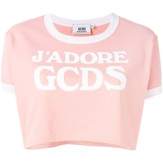 Gcds logo cropped T-shirt ($73) ❤ liked on Polyvore featuring tops, t-shirts, gcds, shirts, pink, cotton t shirts, cotton tee, cropped tops, pink tee and pink t shirt