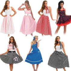50s Fancy Dress - Ladies 1950s Costume Womens Rock N Roll Polka Dot Outfits #FunShack #CompleteOutfit