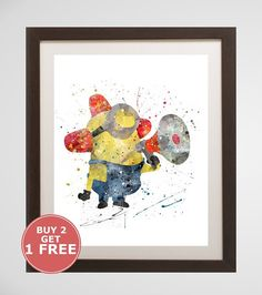 Hey, I found this really awesome Etsy listing at https://www.etsy.com/listing/386346816/minions-print-disney-watercolor-home