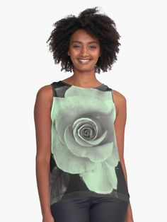 """""""Rose With a Touch of Lime"""" Contrast Tank by PolkaDotStudio 