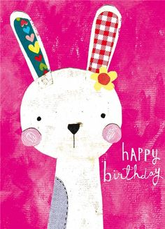 We are a design studio based in Cheshire which was established in 2005 who publish colourful greeting cards, gift wrap and stationary. Happy Birthday Bunny, Happy Birthday Greeting Card, Happy Birthday Wishes, Birthday Background, Hello Kitty, Birthdays, Bunny Bunny, Bunny Rabbits, Frases