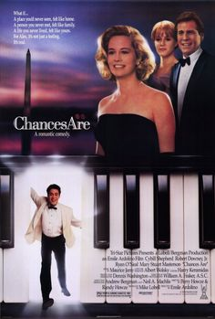 Chances Are - I was seven years old when this came out and it was the first time I had ever seen Robert Downey Jr. and I instantly had a huge crush on him and still do today. Oh yeah, the movie was cute, too. Robert Downey Jr, Films Cinema, Cinema Posters, 80s Movies, Great Movies, Excellent Movies, Watch Movies, Love Movie, Movie Tv