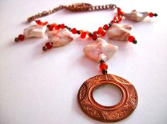 Copper gemstone necklace 40 OFF redline marble by StarJewels, $40.80