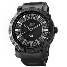"JBW Men's JB-6225-K ""562"" 0.12 ctw Black Ion-Plated Stainless Steel Diamond Watch"